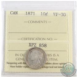 10-cent 1871 ICCS Certified VF-30