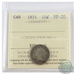 10-cent 1871 ICCS Certified VF-20
