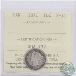 10-cent 1871 ICCS Certified F-15