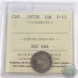 10-cent 1872H ICCS Certified F-12