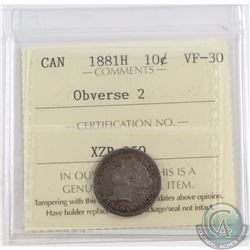 10-cent 1881H Obverse 2 ICCS Certified VF-30