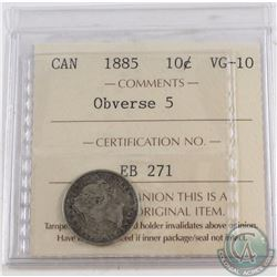 10-cent 1885 Obverse 5 ICCS Certified VG-10