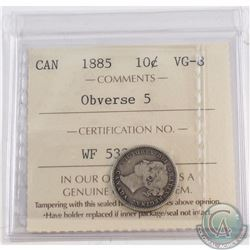 10-cent 1885 Obverse 5 ICCS Certified VG-8