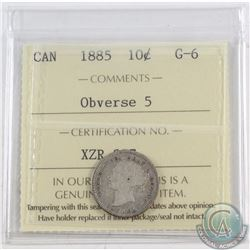 10-cent 1885 Obverse 5 ICCS Certified G-6