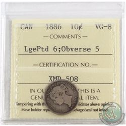 10-cent 1886 Large Pointed 6 Obverse 5 ICCS Certified VG-8