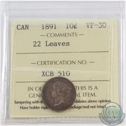 10-cent 1891 22 Leaves ICCS Certified VF-30
