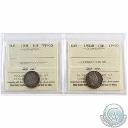 10-cent 1901 & 1903H ICCS Certified VF-30. 2pcs