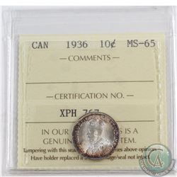 10-cent 1936 ICCS Certified MS-65. Intense rainbow toning around rim of both sides of coin.
