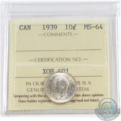 10-cent 1939 ICCS Certified MS-64