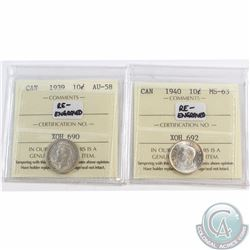 10-cent 1939 Re-Engraved ICCS Certified AU-58 & 1940 Re-Engraved MS-63. 2pcs