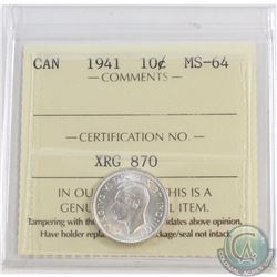 10-cent 1941 ICCS Certified MS-64