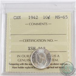 10-cent 1942 ICCS Certified MS-65