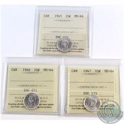 10-cent 1945, 1946, 1947 ICCS Certified MS-64. All coins have a nice original mint luster. 3pcs.