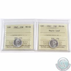 10-cent 1947, 1947 Maple Leaf ICCS Certified MS-64. Both coins have nice eye appeal with strong deta