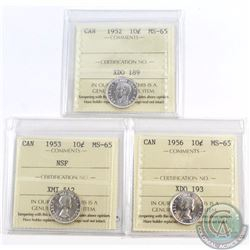 10-cent 1952, 1953 NSF & 1956 ICCS Certified MS-65. 3pcs
