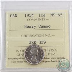10-cent 1954 ICCS Certified MS-65 Heavy Cameo