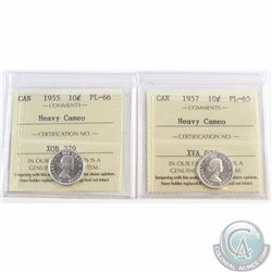 10-cent 1955 ICCS Certified PL-66 Heavy Cameo & 1957 PL-65 Heavy Cameo. 2pcs