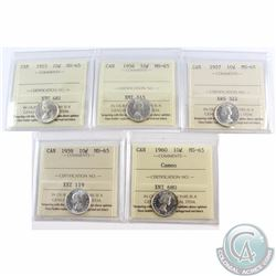 10-cent 1955, 1956, 1957, 1959, 1960 Cameo ICCS Certified MS-65. 5pcs.