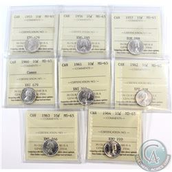 10-cent 1955, 1956, 1957, 1960 Cameo, 1961, 1962, 1963 & 1964 ICCS Certified MS-65. 8pcs