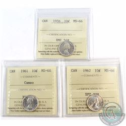 10-cent 1956, 1961 Cameo & 1962 ICCS Certified MS-66. 3pcs