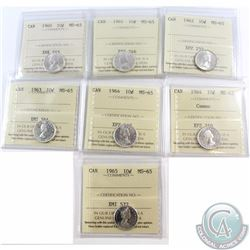 10-cent 1960, 1961, 1962, 1963, 1964, 1964 Cameo, 1965 ICCS Certified MS-65. 7pcs.