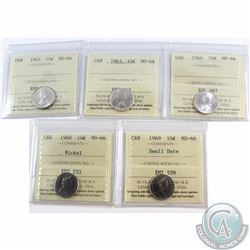 10-cent 1962, 1963, 1966, 1968 nickel, 1969 small Date ICCS Certified MS-66. 5pcs.