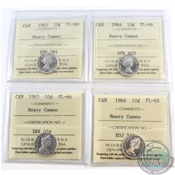 10-cent 1963, 1964, 1965, 1966 ICCS Certified PL-66 Heavy Cameo. 4pcs.