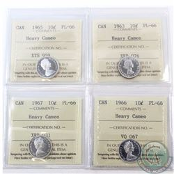 10-cent 1963, 1965, 1966 & 1967 ICCS Certified PL-66 Heavy Cameo. 4pcs