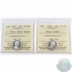 10-cent 1965 ICCS Certified PL-66 Ultra Heavy Cameo & 1967 PL-66 Heavy Cameo. Both coins are tied fo
