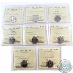 10-cent 1966, 1967, 1968 Nickel, 1969 Small date, 1970, 1971, 1972, 1973 ICCS Certified MS-65. 8pcs.