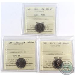 10-cent 1969 Small Date, 1970 & 1972 ICCS Certified MS-66. 3pcs