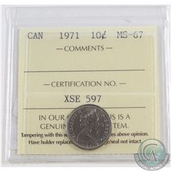 10-cent 1971 ICCS Certified MS-67. Solo finest known grade!