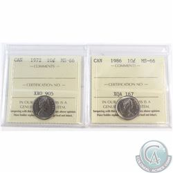 10-cent 1972 & 1986 ICCS Certified MS-66. Both coins tied for finest known. 4pcs