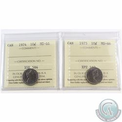 10-cent 1974, 1975 ICCS Certified MS-66. 2pcs..