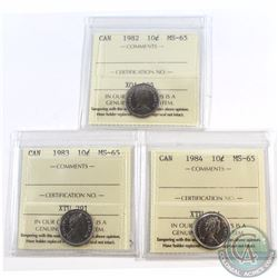 10-cent 1982, 1983, 1984 ICCS Certified MS-65. 3pcs.
