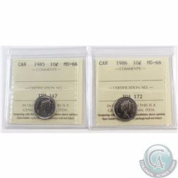10-cent 1985 & 1986 ICCS Certified MS-66. Both coins are tied for finest known! 2pcs