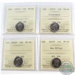 10-cent 2001P, 2001P Volunteers, 2002P, 2003P New Effigy ICCS Certified MS-66. 4pcs.