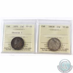 25-cent 1870 Obv. 1, 1883H ICCS Certified VF-20. 2pcs