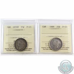 25-cent 1874H & 1888 ICCS Certified F-15. 2pcs.