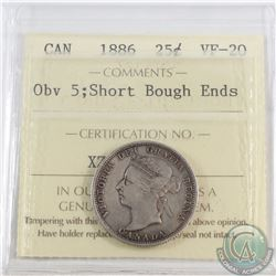 25-cent 1886 Obverse 5 Short Bough Ends ICCS Certified VF-20. Nice evenly toned coin with darker ton