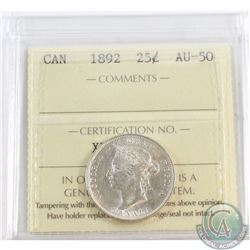 25-cent 1892 ICCS Certified AU-50