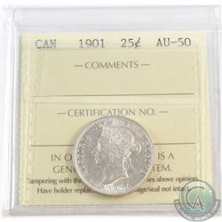 25-cent 1901 ICCS Certified AU-50