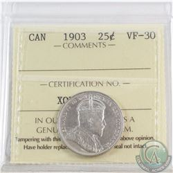 25-cent 1903 ICCS Certified VF-30