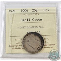 25-cent 1906 Small Crown ICCS Certified G-4