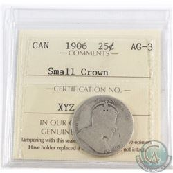 25-cent 1906 Small Crown ICCS Certified AG-3