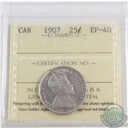 25-cent 1907 ICCS Certified EF-40