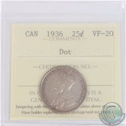 25-cent 1936 Dot ICCS Certified VF-20