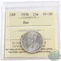 25-cent 1936 Bar ICCS Certified VF-30