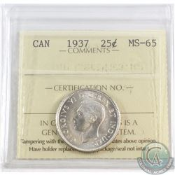 25-cent 1937 ICCS Certified MS-65