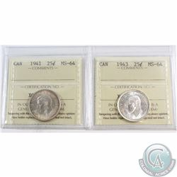 25-cent 1941 & 1943 ICCS Certified MS-64. 2pcs